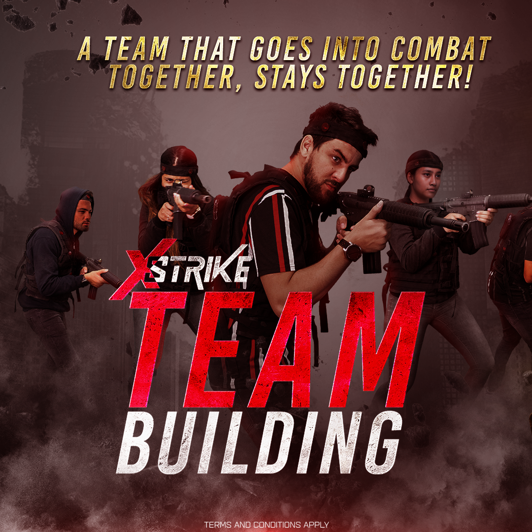A team that goes into combat together, stays together! Gather your work mates and gear up for a different type of team-building experience! Call us on 800XSTRIKE or send an email to info@xstrike.com to book your team building session.