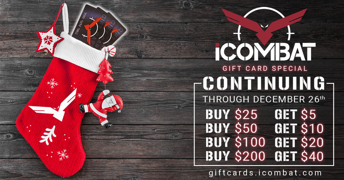 ddf7d7a783f Buy an experience this holiday with our gift card special. An iCombat gift  card is the perfect gift ...